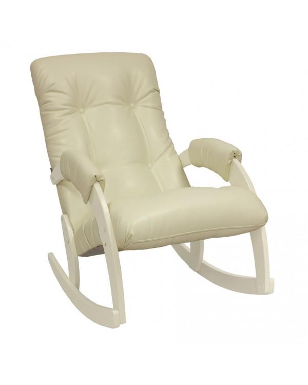 Кресло-качалка, Модель 67 Экокожа сливочный