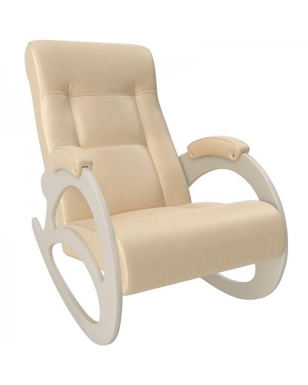 Кресло-качалка, Модель 4 б/л сливочный экокожа