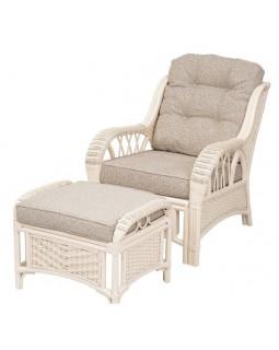 Кресло для отдыха с пуфом ALEXA белое